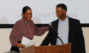 Dr. Winn and a woman guest speaking on CHER Chicago Seminar.