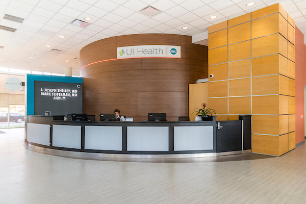 UI Cancer Center lobby/ reception area.