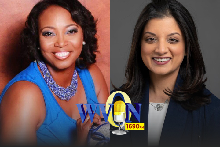 Photo of Candace Henley on the left and Shikha Jain on the right with the WVON logo