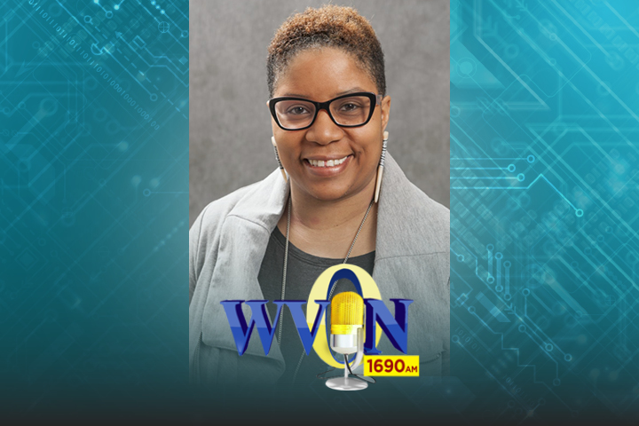 Angela Odoms-Young photo with the WVON logo