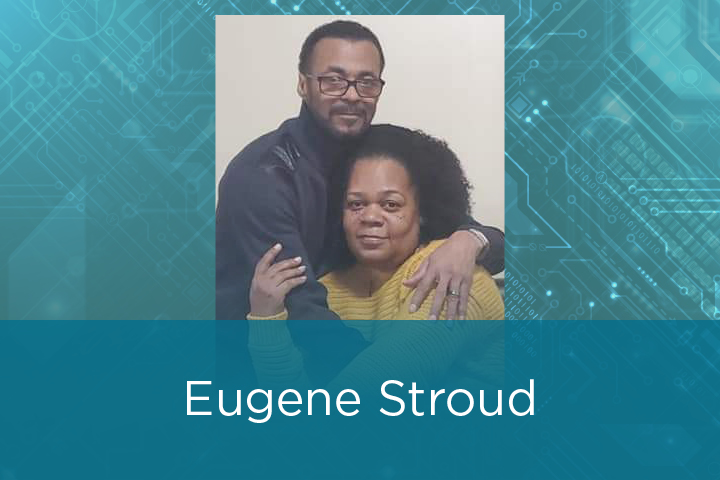 Eugene and Ester Stroud photo with his name and the UI Cancer Center logo