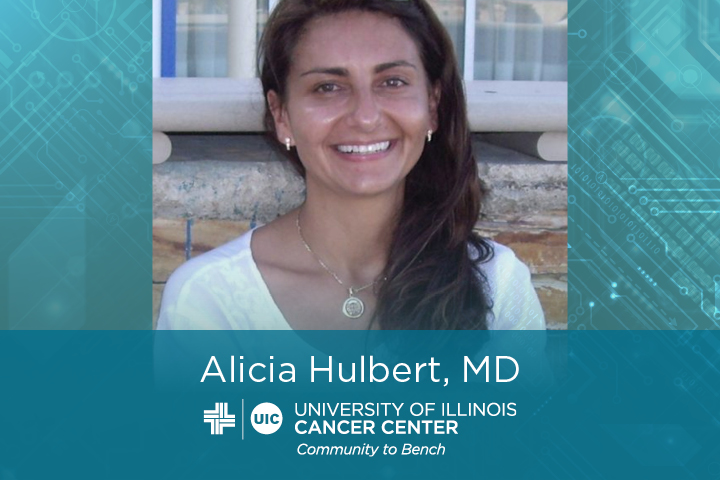 Alicia Hulbert photo with her name and the UI Cancer Center logo