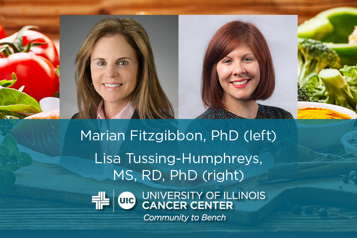Marian Fitzgibbon and Lisa Tussing-Humphreys photos with their names and the UI Cancer Center logo
