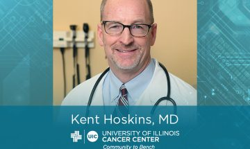 Kent Hoskins photo with his name and the UI Cancer Center logo