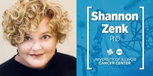 Shannon Zenk photo and her name with the UI Cancer Center logo