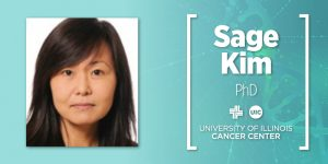Sage Kim photo and name with the UI Cancer Center logo