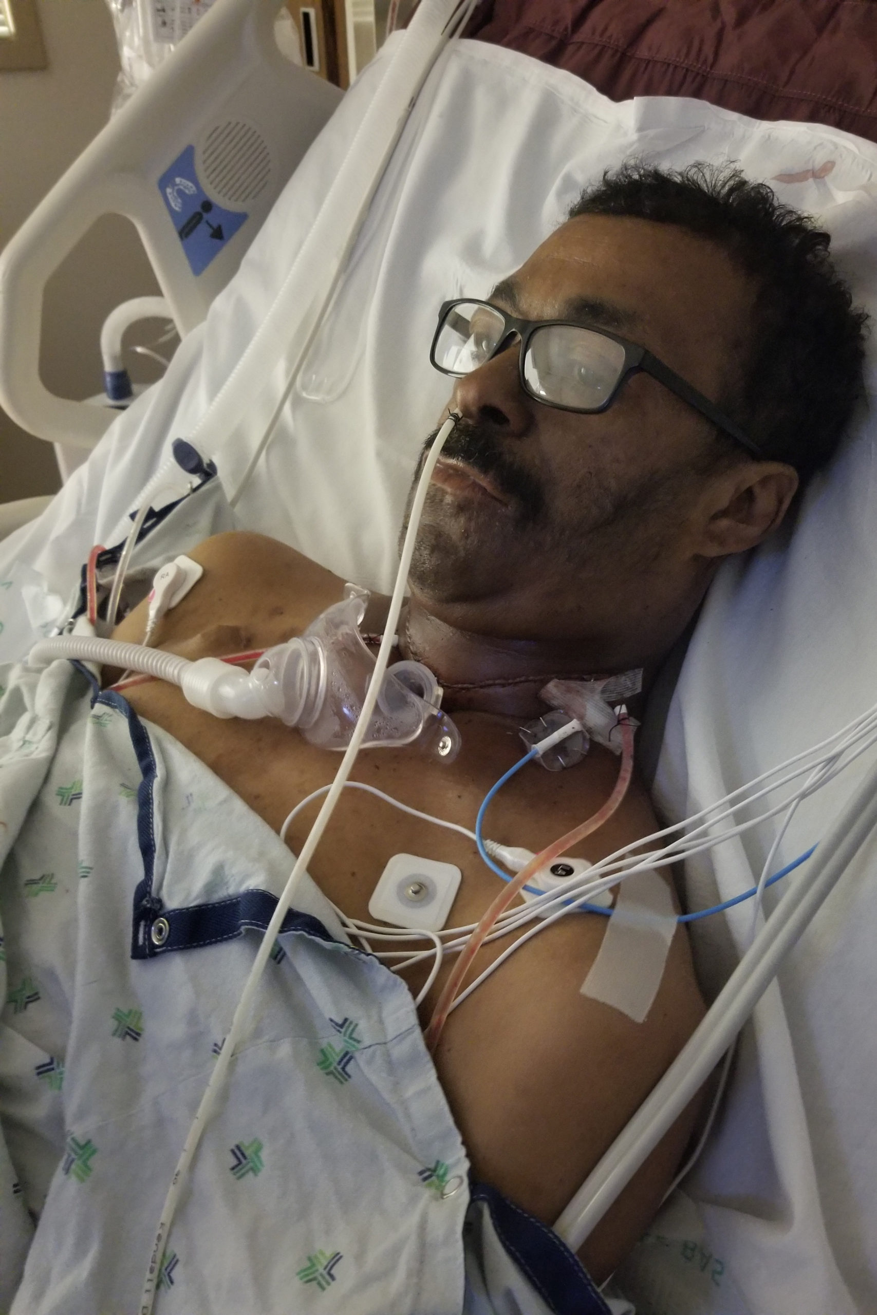 Eugene Stroud in his hospital bed during his cancer surgery