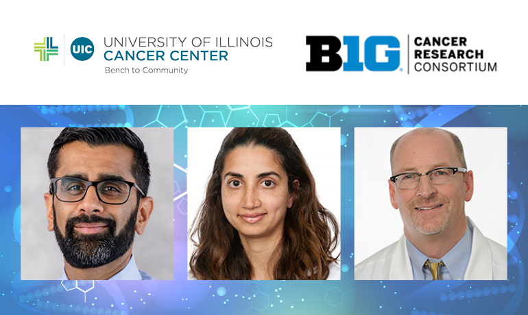UI Cancer Center BIG Cancer Research Consortium. Three researchers profile pictures on bottom.
