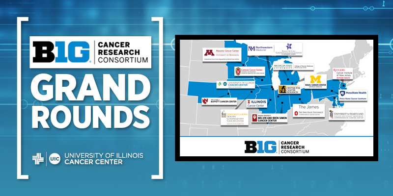 Big Ten Cancer Research Consortium Grand Rounds graphic showing the Big Ten locations on a USA Map