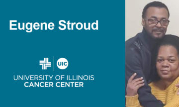 Eugene Stroud and Ester next to his name and the UI Cancer Center logo
