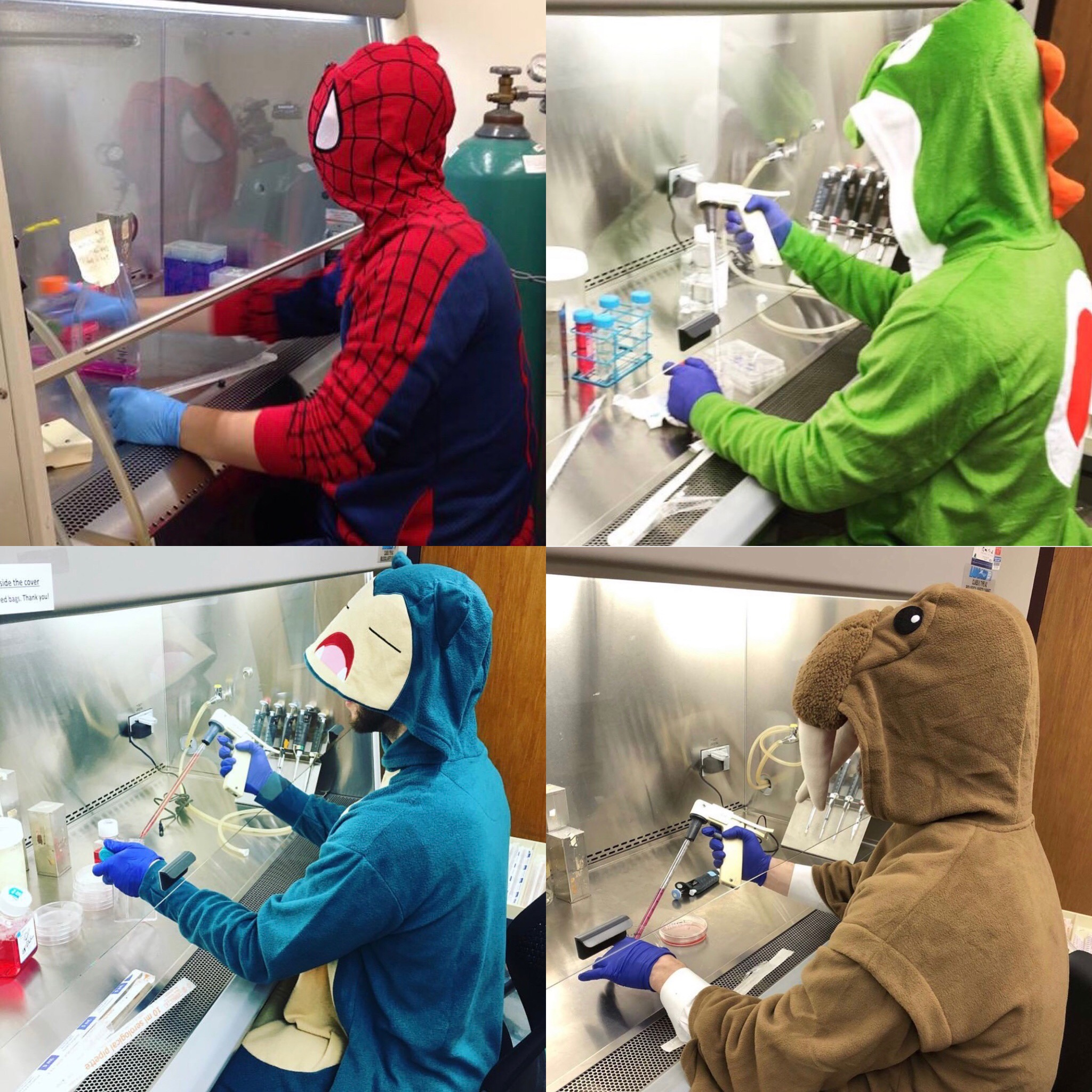 Daniel Principe dressed up for Halloween working in the lab