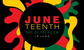 Red, green, and yellow Juneteenth graphic with the words JUNETEENTH DAY OF FREEDOM JUNE 19 in the middle