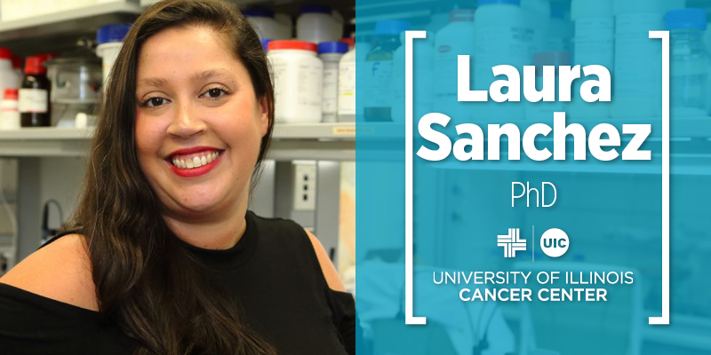 Laura Sanchez Photo in her laboratory, on the right her name appears above the UI Cancer Center logo