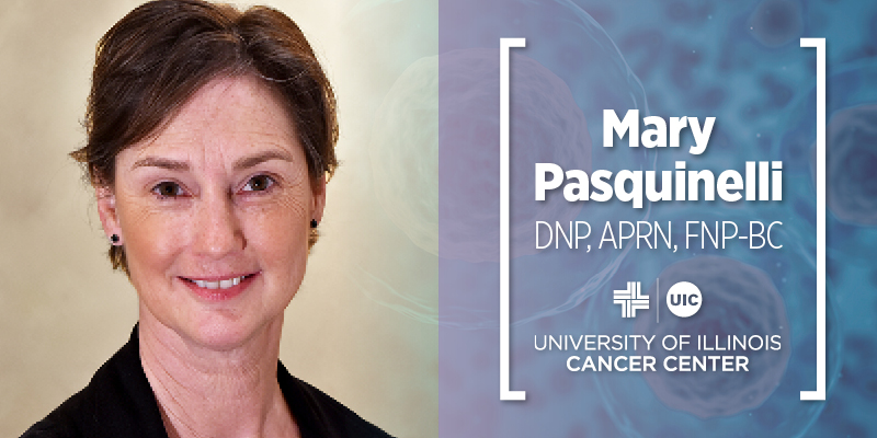 Mary Pasquinelli, DNP, APRN, FNP-BC, photo next to her name and the UI Cancer Center logo