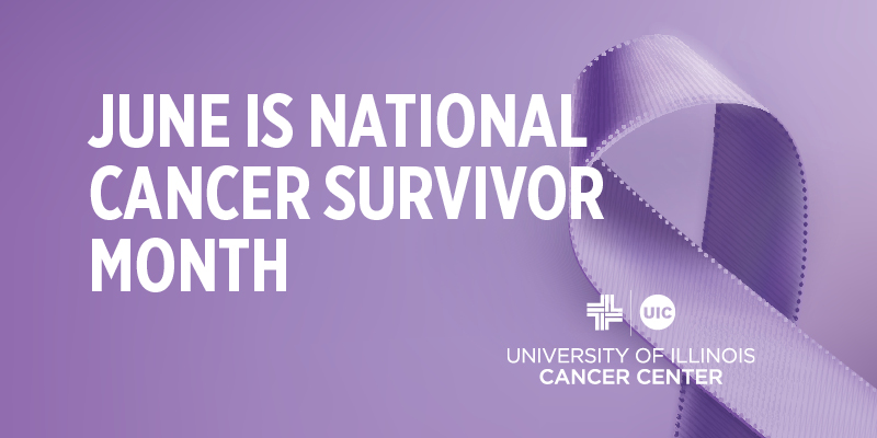 June is National Cancer Survivor Month graphic with lavender ribbon
