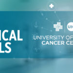 Bold New Clinical Trial words over a scientific background image. The UI Cancer Center logo is on the left of the words