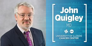 John Quigley photo with his name and UI Cancer Center logo