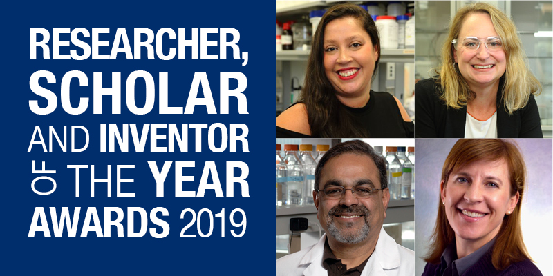 Researcher, Scholar and Inventor of the Year 2019 logo and headshots of the 4 winners