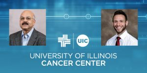 Ajay Rana and Daniel Principe photos with UI Cancer Center logo