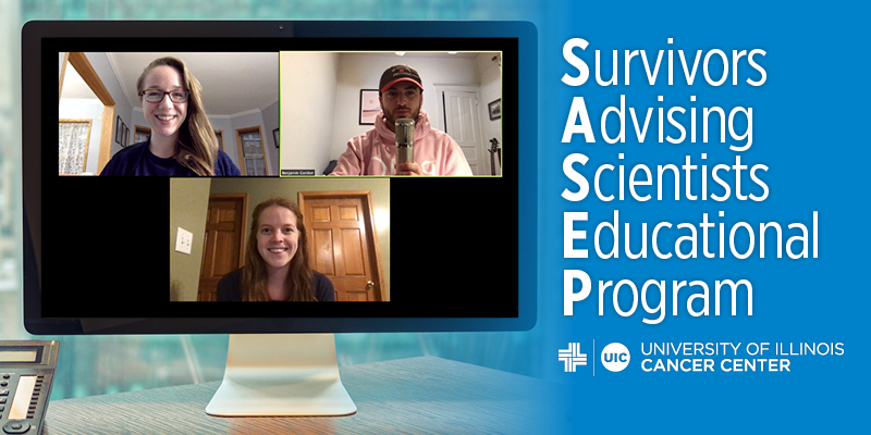 3 students in a zoom webinar appearing on a computer screen. The words Survivors Advising Scientists Educational Program and the UI Cancer Center logo are on the right side.