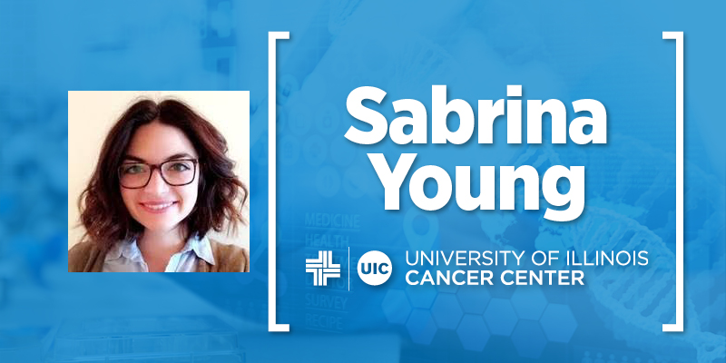 Photo of Sabrina Young, and her name with the UI Cancer Center logo