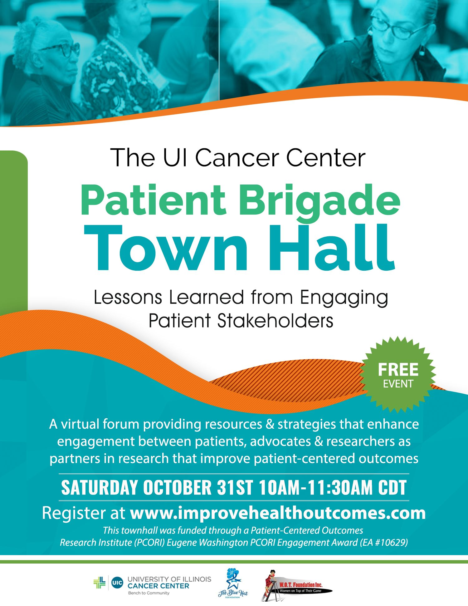 Patient Brigade Town Hall flyer