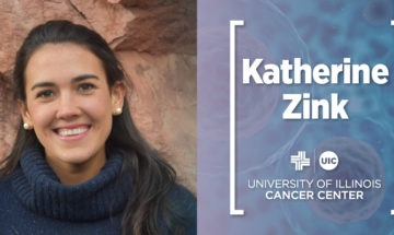 Katherine Zink photo and her name with the UI Cancer Center logo