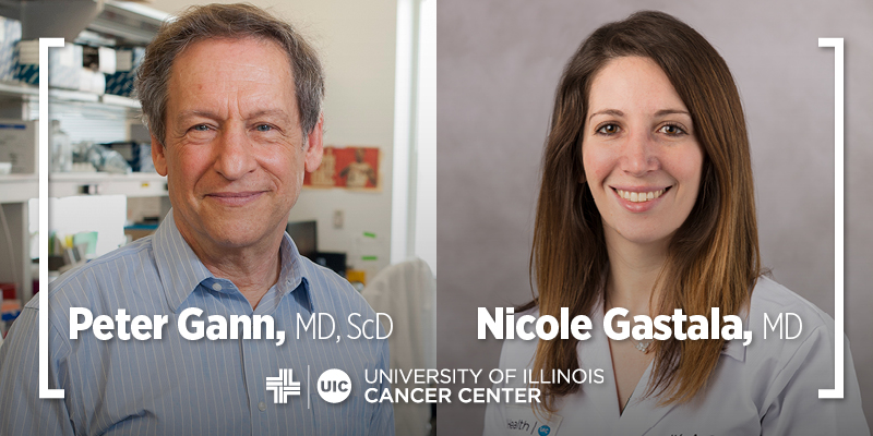 Peter Gann and Nicole Gastala photos side-by-side and the UI Cancer Center logo