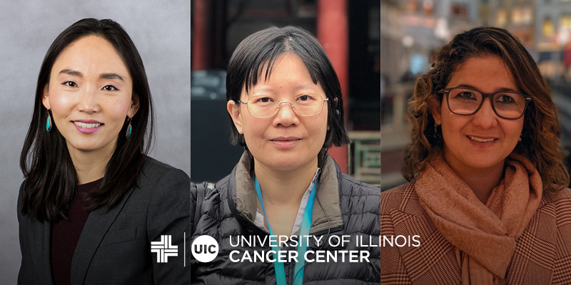 Jiyeon Kim, Yuru Liu, and Suellen D'Arc dos Santos Oliveira photos in a row with the UI Cancer Center logo