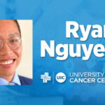 Ryan Nguyen photo with his name and the UI Cancer Center on a blue background