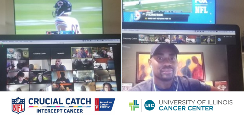 UI Cancer Center survivors and caregivers meeting on zoom for the NFL Crucial Catch 2020