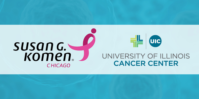 Susan G Komen Chicago logo with the UI Cancer Center logo on a blue background
