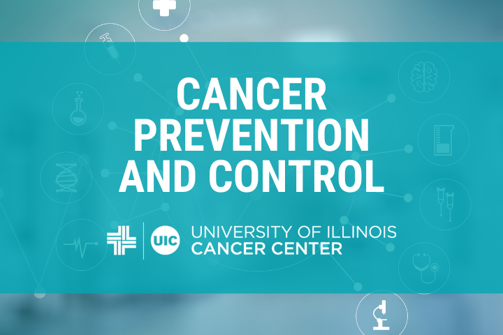 Cancer Prevention and Control Graphic and the University of Illinois Caner Center logo