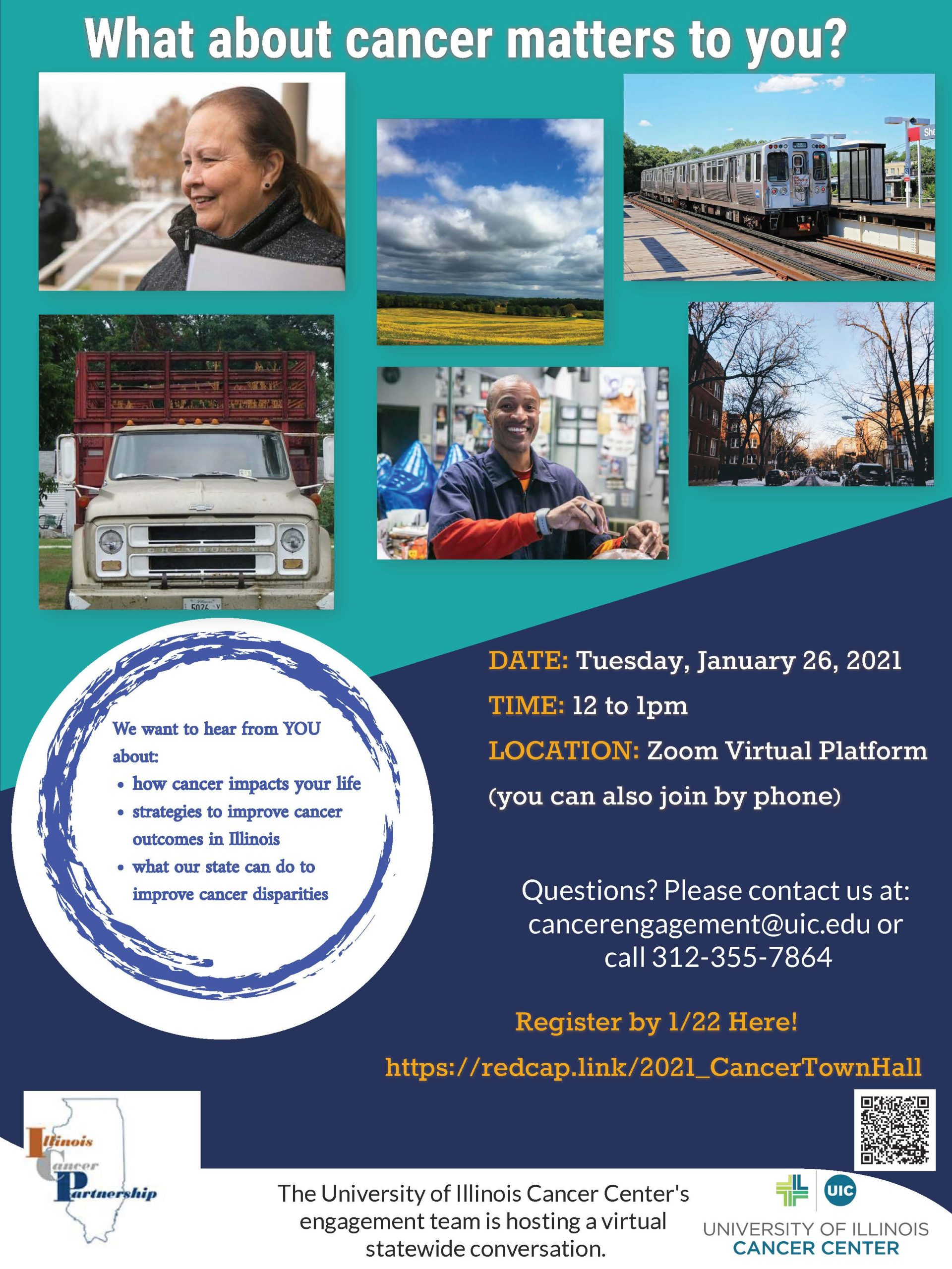 Cancer Community Conversation flyer with photos and seminar information