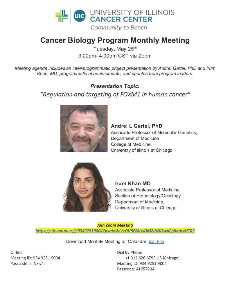 Seminar flyer with speaker photos, names, and links