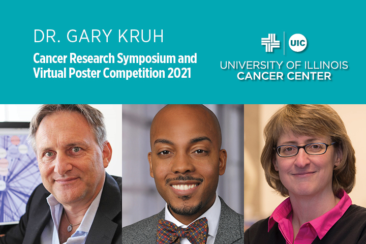 Dr Gary Kruh Cancer Research Symposium and Virtual Poster Competition banner with photos of three speakers who will give presentations