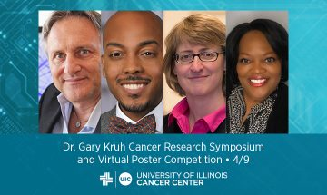 Photos of four speakers, the name of this event, and the UI Cancer Center logo