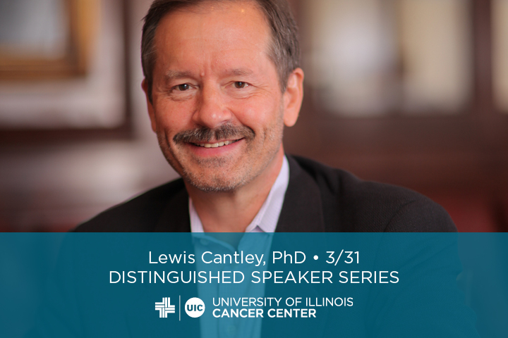 Lewis Cantley's photo with his name and the UI Cancer Center logo