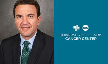 Damiano Rondelli photo next to the UI Cancer Center logo