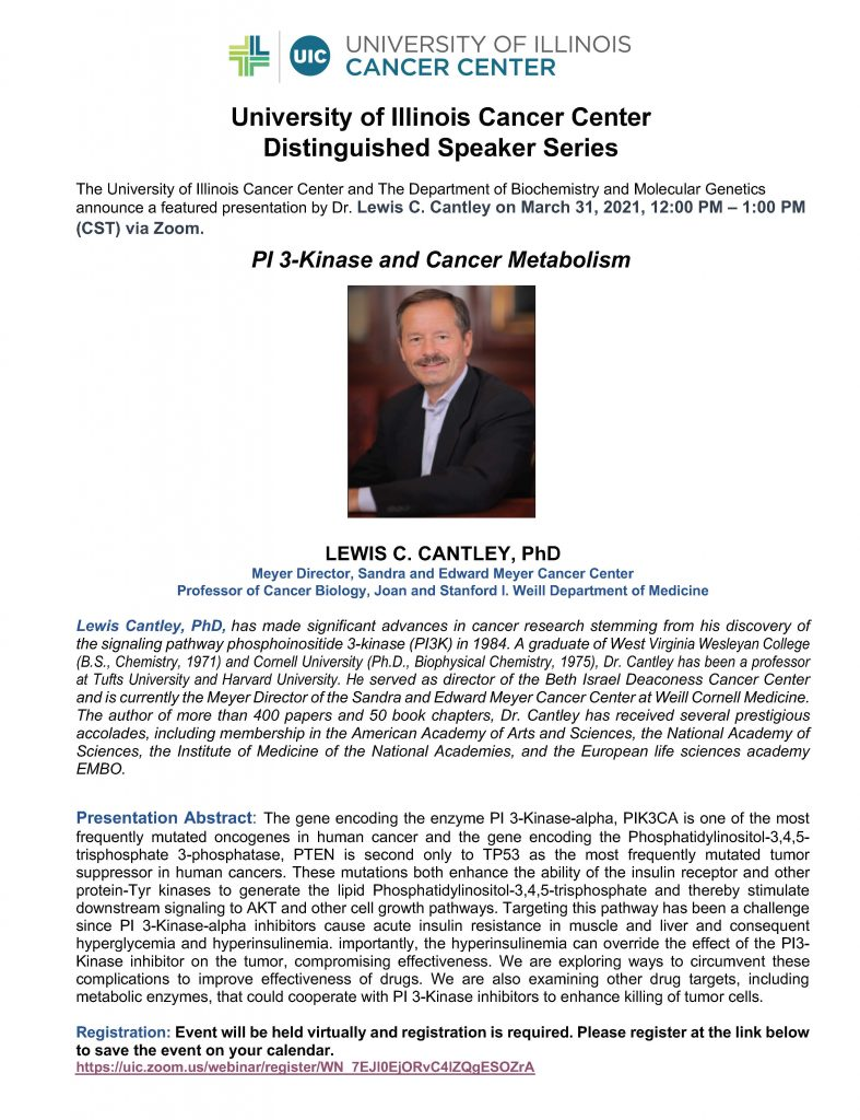 Distinguished Speaker Series flyer featuring Lewis Cantley, PhD