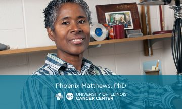 Phoenix Matthews photo, name, and the UI Cancer Center logo