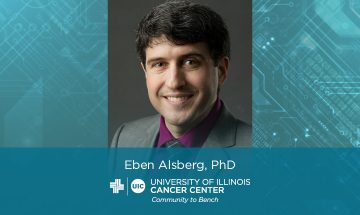 photo of Eben Alsberg, hi sname and the UI Cancer Center logo