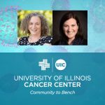 Tamara Hamlish and Elizabeth Papautsky photos with the UI Cancer Center logo