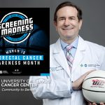 Screening Madness logo over a photo of Dr Kitajewski wearing a lab coat and holding a UIC Basketball