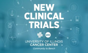 New Clinical Trials graphic with the UI Cancer Center logo