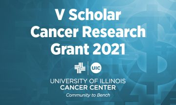 V Scholar Cancer Research Grant 2021 graphic with the UI Cancer Center logo
