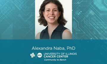 Alexandra Naba photo with her name and the UI Cancer Center logo