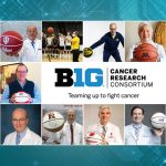 A collage of photos of Cancer Center Directors holding basketballs and the