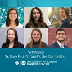 Collage of photos of poster competition winners with the UI Cancer Center logo