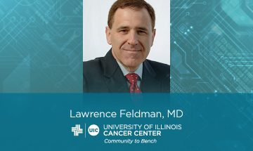 Lawrence Feldman photo with his name and the UI Cancer Center logo